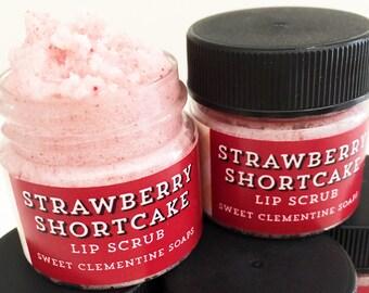 Lip Scrub, Argan Butter Strawberry Shortcake Lip Scrub, Lip Balm, Lip Polish