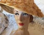 Vintage 1950s 1960s Hat Straw Beach Sun Pin Up Hat