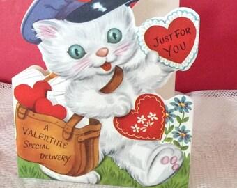 Vintage 1950s Valentine Card Kitty Cat Postman Mail Carrier Paper Ephemera Collectible Art Craft Scrap Book Supplies Whitman USA