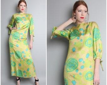1960's Silk Maxi Dress / 60's Mod Chartreuse Caftan / Small
