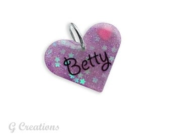Fairy Kei Dog Tag - Personalized Dog Charm - Glitter Heart in Custom Color - Waterproof Lightweight and Silent - Cute Dog Collar Accessory
