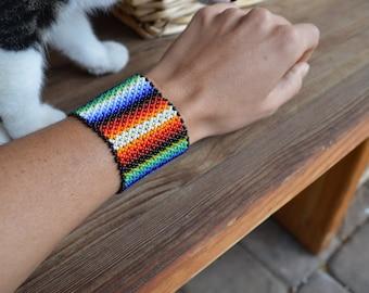 Handmade HUICHOL Mexican Beaded Cuff Bracelet Rainbow Stripe