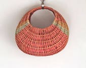 vintage basket purse - SORBET croissant shaped market bag