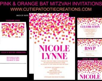 Pink and Orange Confetti Bat Mitzvah Invitations - Sweet 16 Invitation - Quinceanera Invitation - Custom Colors Available