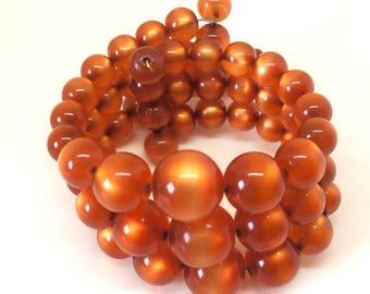 Vintage Amber Glass Bead Memory Wire Bracelet