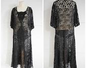 Vintage 1920s black lace flapper dress