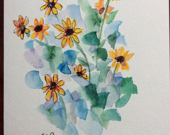 Yellow Blooms Watercolor Card / Hand Painted Watercolor Card