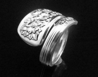 Floral Spoon Ring, Silver Belle 1940, Spoon Ring Flowers