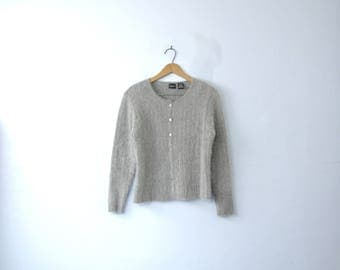 Vintage 90's grey angora sweater, gray cardigan, size medium