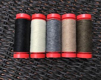 WOOL THREAD: Aurifil 12wt Thread (Wool/Acrylic blend) - Five (5) piece neutral set
