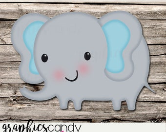 Baby Elephant Decoration - Clip Art - Birthday Party Decor - Baby Shower - Table Topper - Shower Centerpiece - DIY - Printable - Digital