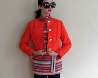 Vintage 1960s Boxy Red Jacket with Gold Buttons/ 60s Cropped Button Down Blazer / Medium