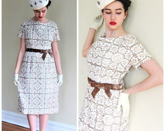 Vintage 1960 1950s Cocktail Dress in Cream Crochet and Brown Velvet  /60s  50s Short Sleeved Party Dress