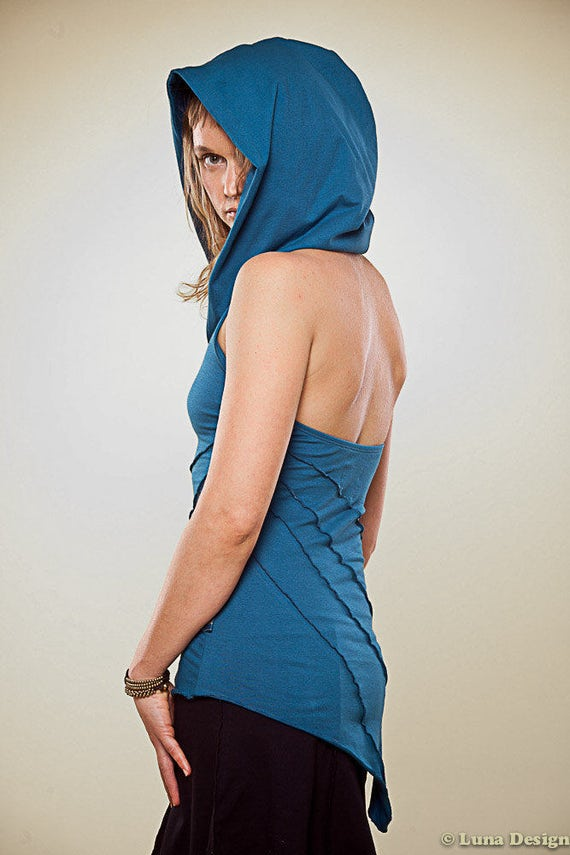 Sleeveless and Backless Hooded Summer Top - burning man sassy top - women clothing - Tops & Tees