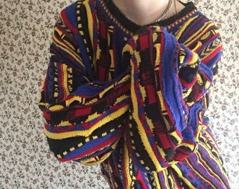 Wild Style Sweater | coogi style mercerized cotton 90s vintage primary color palette urban hip hop hipster club kid red yellow blue striped