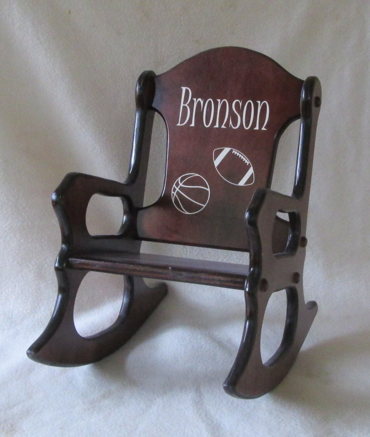 Wooden Kids Rocking Chair Personalized Sports Cherry Finish