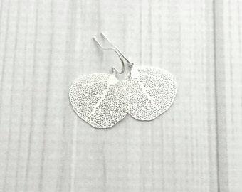 Sea Fan Earrings - .925 sterling silver hooks - silver plated brass coral charm - delicate thin simple minimalist small little filigree
