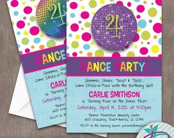 Dance Party Invitation, Dance Birthday Party Printable Invite