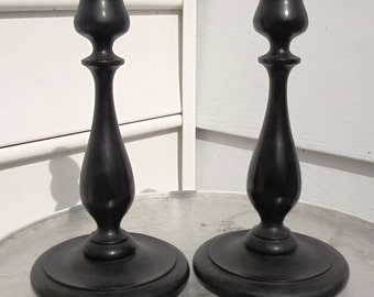 antique candlesticks hard wood original finish perfect condition hand turned home decor candles
