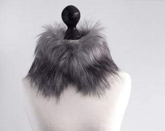 Grey faux fur collar. Faux fur wrap. Fur neck warmer. Womens fur collar. Fur scarf. Christmas gift under 20. Fake fur collar in grey. imali