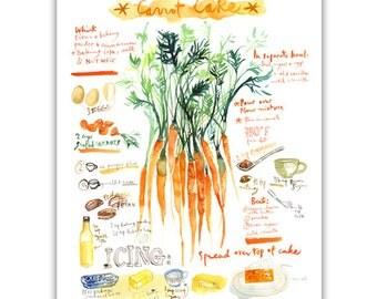 Carrot cake recipe print, Kitchen wall art, Watercolor print, Orange kitchen decor, Illustrated recipe painting, Food artwork Kitchen poster