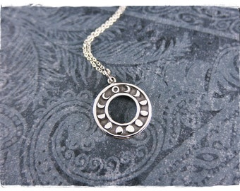 Silver Round Moon Phases Necklace - Sterling Silver Round Moon Phases Charm on a Delicate Sterling Silver Cable Chain or Charm Only