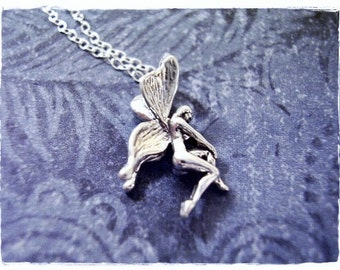 Silver Fairy Necklace - Sterling Silver Fairy Charm on a Delicate Sterling Silver Cable Chain or Charm Only