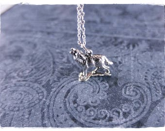 Silver Howling Wolf Necklace - Sterling Silver Howling Wolf Charm on a Delicate Sterling Silver Cable Chain or Charm Only