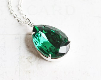 Dark Green Necklace, Rhinestone Teardrop Necklace on Silver Plated Chain, Emerald Green Pendant, Holiday Fashion, Green Jewelry