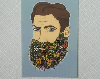 Flower beard postcard print