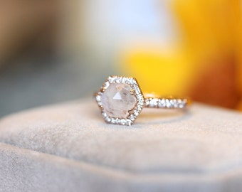 Moonstone halo rose gold ring, hexagon halo ring, unique engagement ring 14K rose gold halo ring