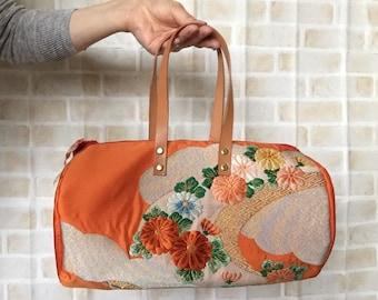 Obi / Obi Bag / Obi Duffle Bag / OR1008  Beautiful Flowers Embroidery  Obi Mini Duffle Bag with Leather Handles