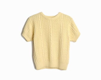 Vintage 90s Short Sleeve Cable Knit Sweater in Cream / Cable Knit Top / Silk Wool Sweater  - women's petite