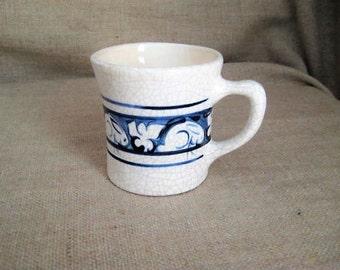 Vintage Hand Painted Mug / Small Bunny Mug / Crackle Glaze Blue Bunny Rabbit Mug / Vintage 80's Mini Mug