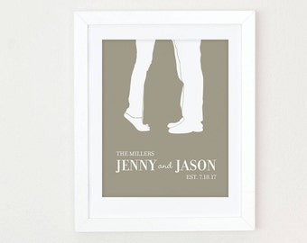 Custom Wedding Gift, Last Name Established Print, Personalized Wedding Gift for Couple, Engagement Gift, Couple Silhouette, Anniversary Gift
