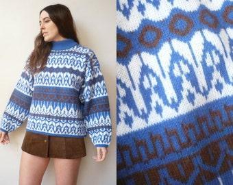 1980's Vintage Novelty Nordic Style Shetland Wool Retro Jumper