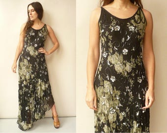 90's Does 30's Vintage Chiffon Floral & Beaded Fishtail Maxi Party Dress Size Small