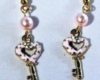 Pink Key Heart Earrings