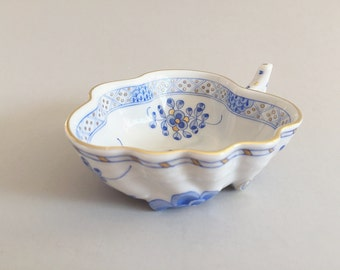 SALE Herend Blue China Leaf Bowl Trinket Bowl Dish Cottage Chic Nappy Womans Gift