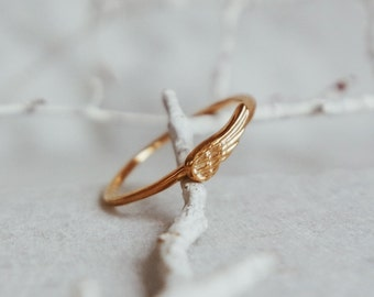 FREE SHIPPING-little wing ring-sterling silver- gold plated-made to order