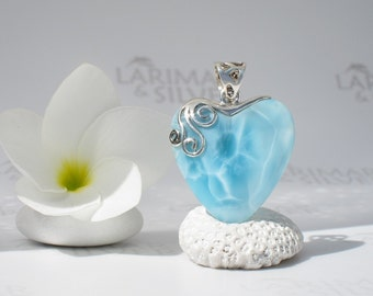 Larimar pendant from Larimarandsilver, Embrace of Love - aqua blue Larimar heart, water blue heart, turtleback, handcrafted Larimar pendant