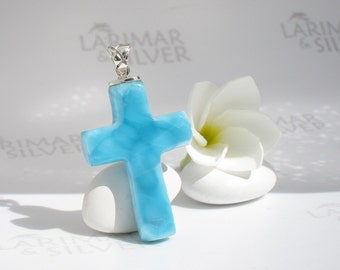 Larimar cross by Larimarandsilver, Strength of Faith - water blue Larimar cross, turtleback, Larimar cross sea blue handmade Larimar pendant