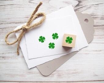Shamrock Stamp, Four Leaf Clover Rubber Stamp St. Patricks Day