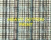 1 YARD, Brown Blue White, Wavy Plaid Print, Upholstery or Home Decor, Interior Fabric Design, Heavy Weight Cotton