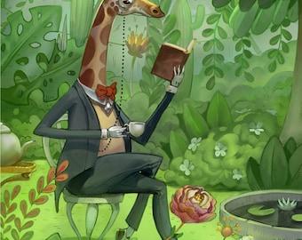 Mr Giraffo - A4 Print - Mr Jack Hannakin collaboration illustration giraffe garden observatory greenhouse gentleman lush plant reading tea