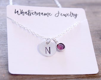Hand Stamped Sterling Silver Initial Necklace with Swarovski Crystal Birthstone, Personalized Necklace, Sterling Silver, Mother's Necklace