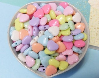 50x 13mm Heart Shaped Beads in Pastel Multicolours