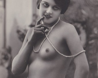 Mature. Nude French Flapper with Pearls 2, by Corona, circa 1920s