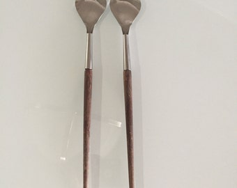 Danish Modern /Mid Century Modern Stainless Salad Servers Wooden Handles/Mid Century Serving Spoon And Fork Set/ By Gatormom13