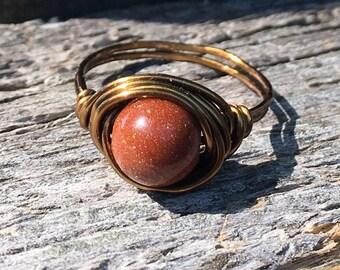 Goldstone antique brass gold wire wrapped ring - size 6 1/2 - gemstone stone glitter brown men women unisex gemstone stone jewelry